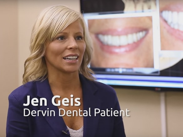 An actual patient of Dr. Dervin's, a dentist in Shawnee KS who received an enhanced smile.