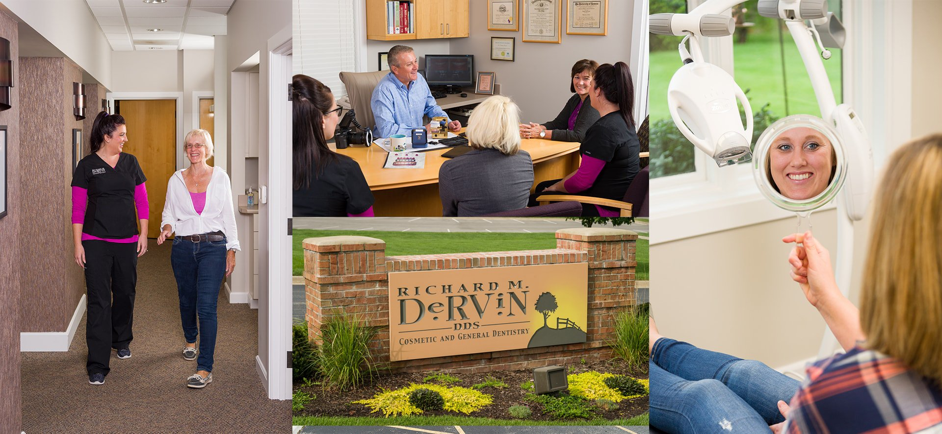 Collage of images of Dr. Dervin, a dentist in Shawnee, KS and his team and dental office.
