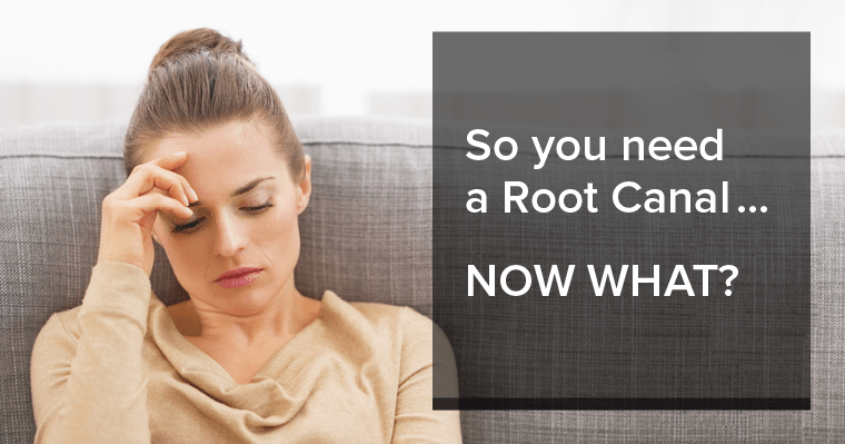 Woman on couch looking concerned about an upcoming root canal treatment appointment